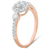 1/2 Ct Diamond Round Halo Vintage Engagement Ring 10k Rose Gold (H, I1-I2)