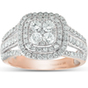 1 1/10 Ct Diamond Cushion Halo Multi Row Engagement Ring Wedding Set Rose Gold (H, I1-I2)