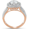 1 1/10 Ct Diamond Cushion Halo Multi Row Engagement Ring Wedding Set Rose Gold (H, I1-I2)