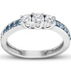 1/2 Ct Blue & White Diamond Three Stone Engagement Anniversary Ring White Gold (H, I1-I2)