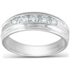 1/2 Ct Diamond Mens Wedding Ring 10k White Gold (H, I1-I2)