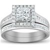 1 Ct TDW Princess Cut Halo Diamond Engagement Wedding Ring Set 10k White Gold (H, I1-I2)