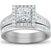 1 Ct TDW Princess Cut Halo Diamond Engagement Wedding Ring Set 10k White Gold (H, I1-I2)