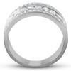 1 Ct Diamond Three Row Womens Anniversary Wide Wedding Ring 10k White Gold (H, I1-I2)