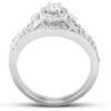 1/2 Ct Halo Round Diamond Vintage Engagement Wedding Ring Set 10k White Gold (H/I, I1-I2)