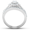1/2 Ct Halo Round Diamond Vintage Engagement Wedding Ring Set 10k White Gold (H/I, I1-I2)
