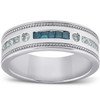 1/2 Ct Mens Blue Diamond Princess Cut Wedding Ring 10k White Gold (H, I1-I2)