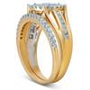 1 Ct Halo Diamond Engagement Wedding Ring Set Multi Row Wedding Band Yellow Gold (H/I, I1-I2)
