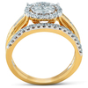 1 Ct Halo Diamond Engagement Wedding Ring Set Multi Row Wedding Band Yellow Gold (H/I, I1-I2)