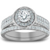 1 1/4 Ct Diamond Halo Double Band Engagement Ring & Wedding Band Set White Gold (H/I, I1-I2)