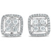 1/2 CT Diamond Cushion Halo Studs Womens Earrings 10k White Gold (G-H, I1-I2)