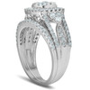1 1/2 Ct Cushion Halo Round Diamond Engagement Wedding Ring Set 10k White Gold (H/I, I1-I2)