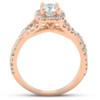 1 Ct Diamond Cushion Halo Engagement Ring 14k Rose Gold (G/H, I1-I2)