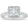 2 Ct Diamond Princess Cut Halo Engagement Ring 14k White Gold (H/I, SI1-SI2)