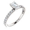 1 1/2 Ct Emerald Cut Diamond Engagement Ring 14k White Gold (H/I, SI1-SI2)