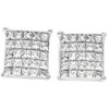 1 Ct Diamond Princess Cut Screw Back Studs Womens Earrings 10k White Gold (I-J, I2-I3)