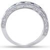 1/2Ct Blue Sapphire & Diamond Wedding Ring Anniversary Stackable Band White Gold (H/I, I1-I2)