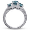1 1/2 Ct Three Stone Vintage Blue Diamond Engagement Ring 14k White Gold Antique (G/H, I1-I2)
