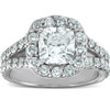 3 Ct Cushion Diamond Engagement Halo Split Shank Ring 14k White Gold (H/I, SI1-SI2)