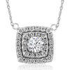 "1 1/2 Ct Cushion Double Halo Pendant 14k White Gold 1/2"" (H-I, I1-I2)"