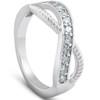 1/2 Ct Diamond Infinity Braided Anniversary Right Hand Ring 10k Whie Gold (G/H, I1-I2)