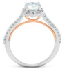 1 3/8Ct Diamond & Moissanite Halo Two Tone Engagement Ring 14k Rose & White Gold (G/H, VS1-VS2)