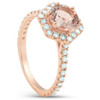 1 5/8 Ct TW Morganite Hexagonal Halo Diamond Ring 14k Rose Gold (H/I, I1-I2)