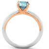 1 Ct Blue Diamond Solitaire Two Tone Engagement Ring 14k White & Rose Gold (Blue, I1)