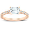 1 1/2 Ct Sideways Emerald Cut Diamond Engagement Ring 14k Rose Gold (H/I, SI2-I1)
