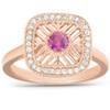 1/2 Ct Diamond & Ruby Fashion Designer Ring 14k Rose Gold (H/I, I1-I2)