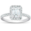 1 1/2 Ct Emerald Cut Diamond Halo Engagement Ring 14k White Gold (H/I, SI2-I1)