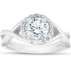 1 Ct Diamond Halo Infinity Crossover Band Engagement Ring 14k White Gold (H/I, I1-I2)
