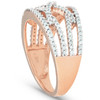 1/2 Ct Diamond Multi Row Crossover Right Hand Cocktail Ring 10k Rose Gold (I/J, I2-I3)