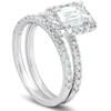 1 3/4 Ct Emerald Cut Diamond Halo Engagement Wedding Ring Set 14k White Gold (H/I, SI2-I1)
