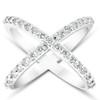1 Ct Diamond X Ring Wide Womens Fashion Designer Band 14k White Gold (H/I, I1-I2)