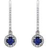 1 3/8ct Oval Blue sapphire & Diamond Halo Hoops Dangle Lever Back Earrings 18K (G-H, I1)