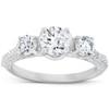 1 1/2 Ct Diamond Three Stone Engagement Pave Ring 14k White Gold (H/I, I1-I2)