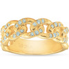 1/2 Ct Mens Heavy Weight Solid Yellow Gold Curb Chain Diamond Ring Wedding Band (H/I, I1-I2)