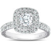 1 1/3 Ct Cushion Halo Diamond Pave Engagement Ring 14k White Gold (H/I, I1-I2)