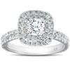 1 1/3 Ct Cushion Halo Diamond Pave Engagement Ring 14k White Gold (H/I, I1-I2)