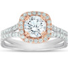 1 5/8 Ct Diamond Engagemnt Ring Cushion Halo Two Tone 14k White & Rose Gold (H/I, SI1-SI2)