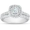 1 1/10Ct Cushion Halo Diamond Halo Engagement Wedding Ring Set 14k White Gold (G/H, I1-I2)