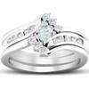 1/2 Ct Marquise Diamond Engagement Trio Wedding Ring Set 10k White Gold (H/I, I1-I2)