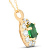 1 3/4ct Emerald & Genuine Diamond Halo Pendant 14K Yellow Gold (G/H, I1)