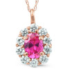 1 3/4ct Pink Sapphire & Genuine Diamond Halo Pendant 14K Rose Gold (G/H, I1)