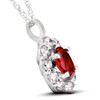 1 3/4ct Ruby & Genuine Diamond Halo Pendant 14K White Gold (G/H, I1)