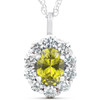 1 3/4ct Oval Citrine & Genuine Diamond Halo Pendant 14K White Gold (G/H, I1)