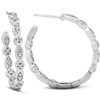 "1/2 Ct Genuine Diamond Inside Outside 1"" Hoops White Gold (G-H, I1)"