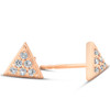 14k Rose Gold Triangle Pave 1/10Ct Diamond Spike Studs Womens Earrings (G/H, I1)