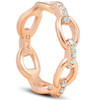 1/4Ct Diamond Link Fashion Ring Womens 14k Rose Gold Anniversary Band (H/I, I1-I2)